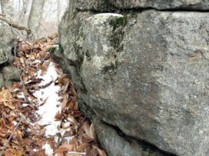 Inside the Northeast outcrop is a large slab that may have been manipulated to produce a 10' long, 3' wide corridor into the rock, with a 2' wide, 4' long walkway extending to the N.E. This photo shows a distinctive bulge running vertically about a foot in from the corner of the stone.