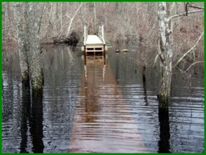 "4/2 water is still at 15"" on Boardwalk, too deep for Bob & Tom's Boots"