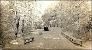 Winter scene with Model A or T Ford on unplowed road.                                            Picture from Bob Miner